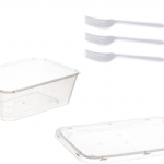 Snack Pack 3 - 1L Plastic Container & white plastic fork